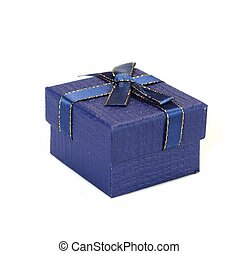 Single Blue Gift Box With Pattern Isolated On White...
