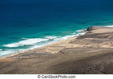 Cofete beach, view from Jandia peninsula, Fuerteventura,...