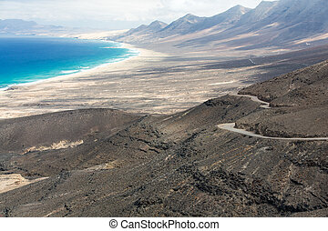 A raod to Playa de Cofete, Fuerteventura, Canary Islands,...