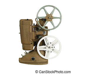 Old film projector isolated on white