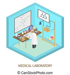 Medical laboratory scientist, Isometric flat vector...