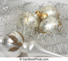 Christmas balls with a tinsel - Silver with a gold ornament...