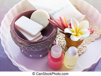 Mini set of shower bath soap, shampoo,conditioner decorated...