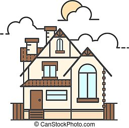 Vector line art illustration of house icon isolated