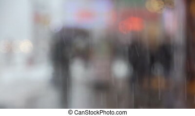 NY snowfall - snowfall, New York, a yellow taxi, umbrella,...