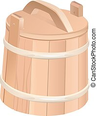 Closed wooden tub. Wooden bucket with lid. Isolated on white...