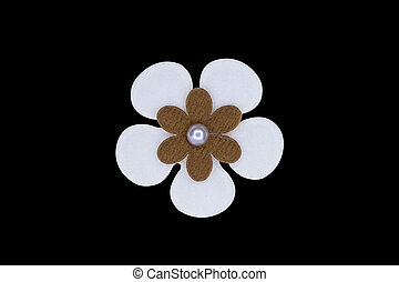 Brooch - white flower Brooch fashion isolate over black...
