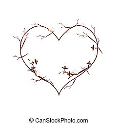 Branch of Cotton Buds in Heart Shape