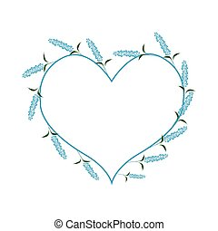 Blue Sage Flowers in A Heart Shape - Love Concept,...