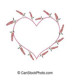 Scarlet Sage Flowers in A Heart Shape - Love Concept,...