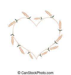 Orange Sage Flowers in A Heart Shape - Love Concept,...