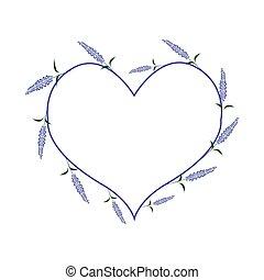 Purple Sage Flowers in A Heart Shape - Love Concept,...
