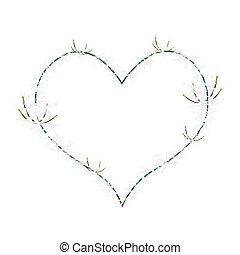 White Ixora Flowers in Heart Shape Frame - Love Concept,...