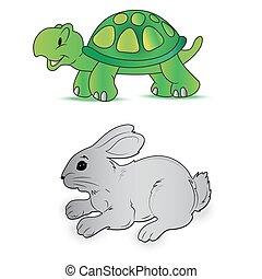 Rabbit turtle speed - Rabbit, turtle, speed, vector,...