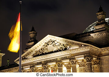 berlin reichstag night - berlin reichstag at night with...