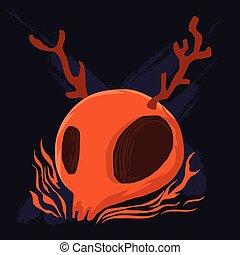 Orange cranium and antler