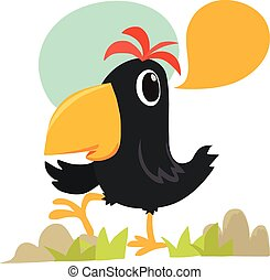 Cartoon crow talking
