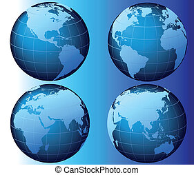 World - Vector - This is a set of globes showing the earth...
