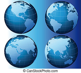 World - Global Set Series - This is a set of globes showing...