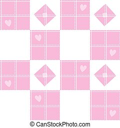 Chessboard Pink Heart Valentine Background Vector...