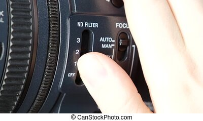 Finger changes video switcher on digital camera, nd filter -...