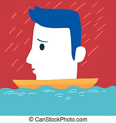 Sad man on boat