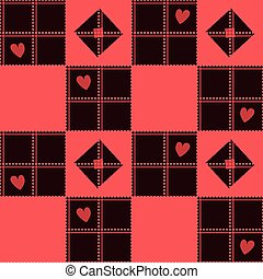 Chessboard Red Heart Valentine Background Vector...