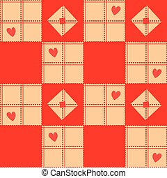 Chessboard Beige Red Heart Valentine Background Vector...