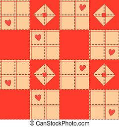 Chessboard Beige Red Heart Valentine Background Vector...