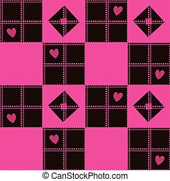 Chessboard Pink Brown Heart Valentine Background