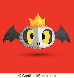 Cute bat skull with crown