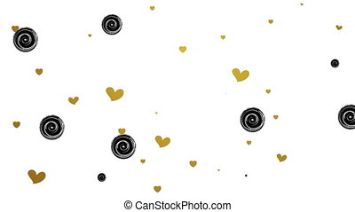 Gold glitter hearts and black circles video animation - Gold...