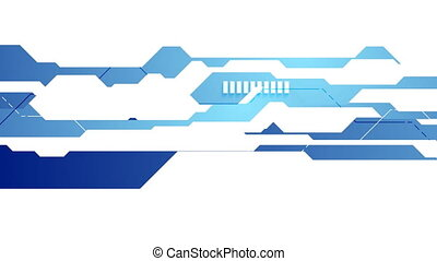 Bright blue and white tech geometric video animation -...