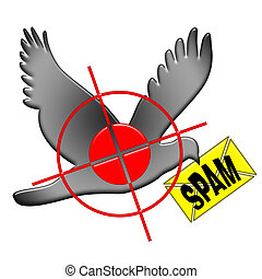 Kill Spam - Anti spam illustration with aiming and shooting...