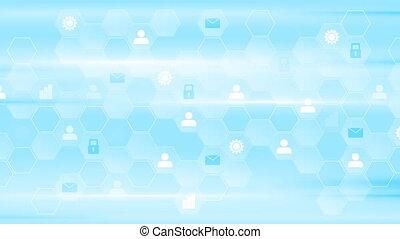 Blue tech communication video animation