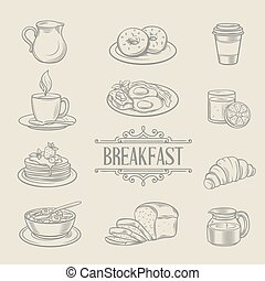 Decorative hand drawn icons breakfast foods coffee donuts...