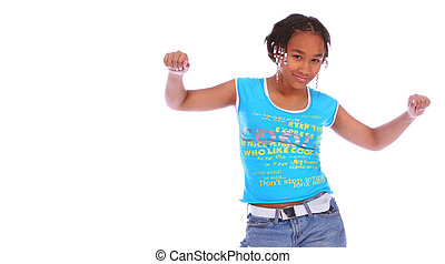 African American Girl Dancing 3 - isolated african american...