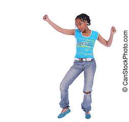 African American Girl Dancing - isolated african american...