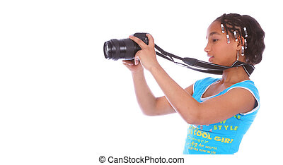 African American Girl Taking Picture Close Up 4