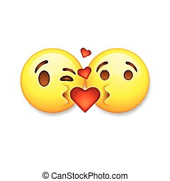 Kissing emoticons, Valentines day emoticon icons, Love emoji symbols, vector illustration.