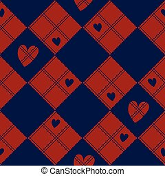 Diamond Chessboard Red Navy Blue Heart Valentine Background...