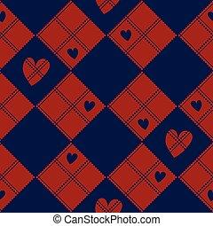 Diamond Chessboard Red Navy Blue Heart Valentine Background...