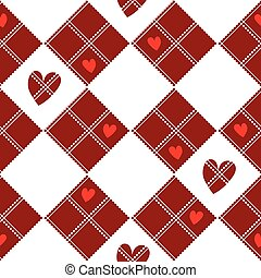Diamond Chessboard Red Heart Valentine Background Vector...