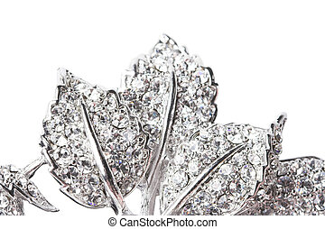 Rhinestone leaves - Close-up of leaves all covered with...