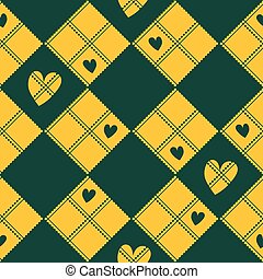 Diamond Chessboard Yellow Green Heart Valentine Background...