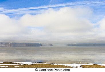 Bonneville salt flats in winter