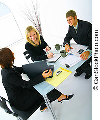 Business Woman Presenting With Laptop - happy caucasian...