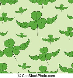 Seamless winged shamrocks - Seamless texture with winged...