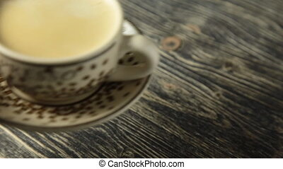 Cup of Coffee on Vintage Wooden Table espresso