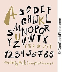Alphabet letters lowercase, uppercase and numbers. Vector...